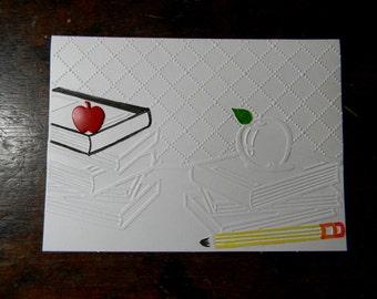 Teacher Appreciation Embossed Greeting Card, Teacher Appreciation Card, Teacher Thank You Card, Blank Inside Option, Handmade