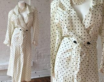 Saks Fifth Avenue White with Black Polka Dot Raincoat