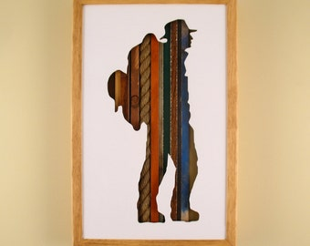 """Hiker - 17"""" by 11"""" Recycled Wood Silhouette Wall Art"""