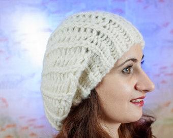 Hat with pom pom - Hand knitten hat - a cap of manual binding - winter hat - beige hat - hat for women- hat with pom pom for women