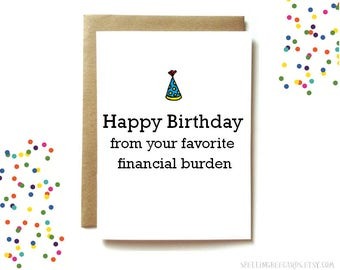 Birthday card etsy funny birthday card for mom or dad funny parent birthday card mom birthday dad birthday card financial burden stopboris Images