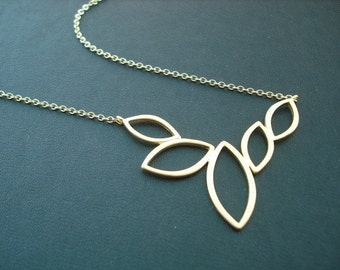 multi marquise necklace - 16K matte yellow gold plated