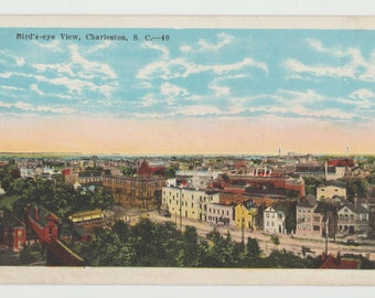 Linen Postcard, Charleston, South Carolina, Birds Eye View, ca 1930