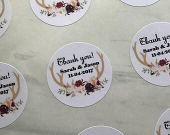 Deer Antler Wedding, Deer Antler Favor Stickers, Deer Antler labels, Wedding Thank You Stickers, Favor Labels, Personalized Favor Labels
