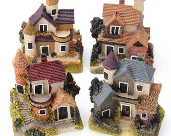 1Pcs Mini Resin House Miniature House Fairy Garden Micro Landscape Home Garden Decoration Resin Crafts 4 styles Color Random