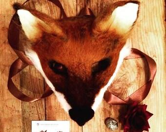 Deer antler headdress and fox face mask handmade to order.