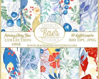 DIGITAL PAPER COMMERCIAL Use Floral:Blue Watercolor Digital Paper, Digital Scrapbook Paper, David's Bridal Morning Glory Blue Digital Paper