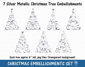 Silver Metallic Christmas Tree Clipart Set - 7 different styles - Commercial Use - Instant Download