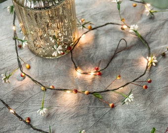 33FT 100 Micro LED Flower Garland Vine String Lights With Battery Operate for Holiday Wedding Party Christmas Lighting Decoration