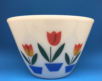 Fire King Tulip Bowl, 9 1/2 Inches, Fire King Ivory, Fire King Splash Proof Bowl