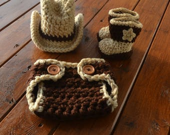 Crochet Baby Cowboy Outfit, Cowboy Hat and Boots Set Newborn Cowboy Outfit Baby Cowboy Outfit Photo Prop Cowboy Photo Prop Cowboy Clothes