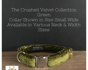 Velvet Collar - Crushed Velvet Green Dog Collar - Velvet Dog Collar - Green Velvet - Handmade - Adjustable