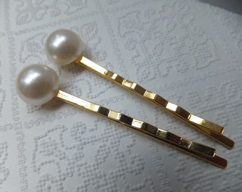 White Resin Pearl and Gold Hairclips - Two gold clips