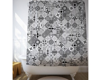 Mosaic Shower Art, Black And White, Modernist Decor, Bath Decor, Ceramic Tile Art, Shower Curtain, Fabric Curtain, Polyester, Gray. SP054B