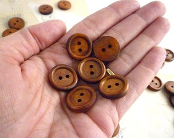 Round Wooden Buttons, 18mm - Dark Coffee Coloured -  Pack of 10