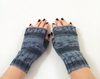 Hand Knitted Fingerless Mittens, Fingerless Gloves - Gray, Blue, Size Medium