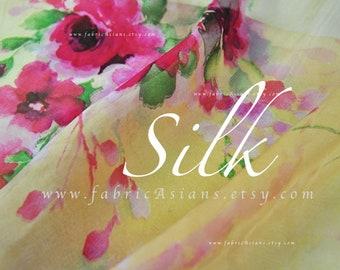 Yellow Chiffon Silk pink rose Cottage Chic fabric