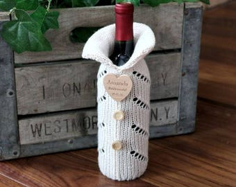 Knitted Wine Bottle Gift Bag, Wine Bottle Gift Bag, Wine Bottle Cozie, Wine Bottle Cover, Gift Bags, Wine Bottle Sweater, Bridal Party Gift