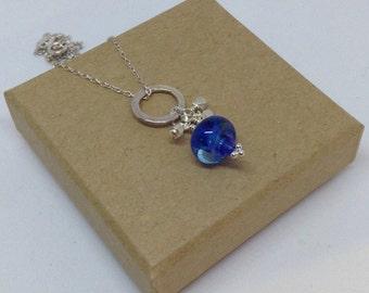 Blue lampwork Bead Necklace, Blue lampwork necklace, Blue Necklace, Lampwork Bead Necklace, Blue Bead Necklace, Silver Necklace, Lampwork
