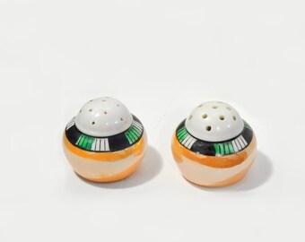 Peach Luster Ware Salt Pepper Shakers Japan Art Deco Style