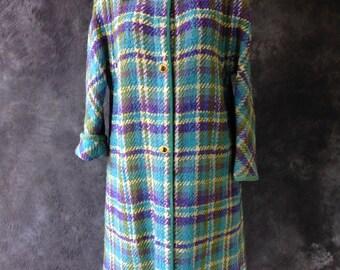 1960's Bonnie cashin coat blue purple green wool plaid