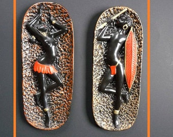 wall decor - African couple - vintage - 50s