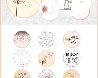 Digital collage sheet circles dandelion pink white- 1 inch circle images digital bottle cap dandelion digital rounds 30 25 20 18 16 14 12 mm