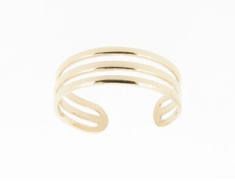 9ct Yellow Gold Triple Band Design Toe Ring