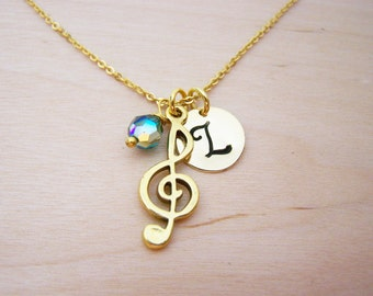 Treble Clef Music Necklace - Gold Initial Necklace - Birthstone Necklace - Gold Initial Disc Necklace - Personalized Necklace - Music Charm