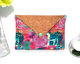 Multicolor floral envelope pouch flap Cork