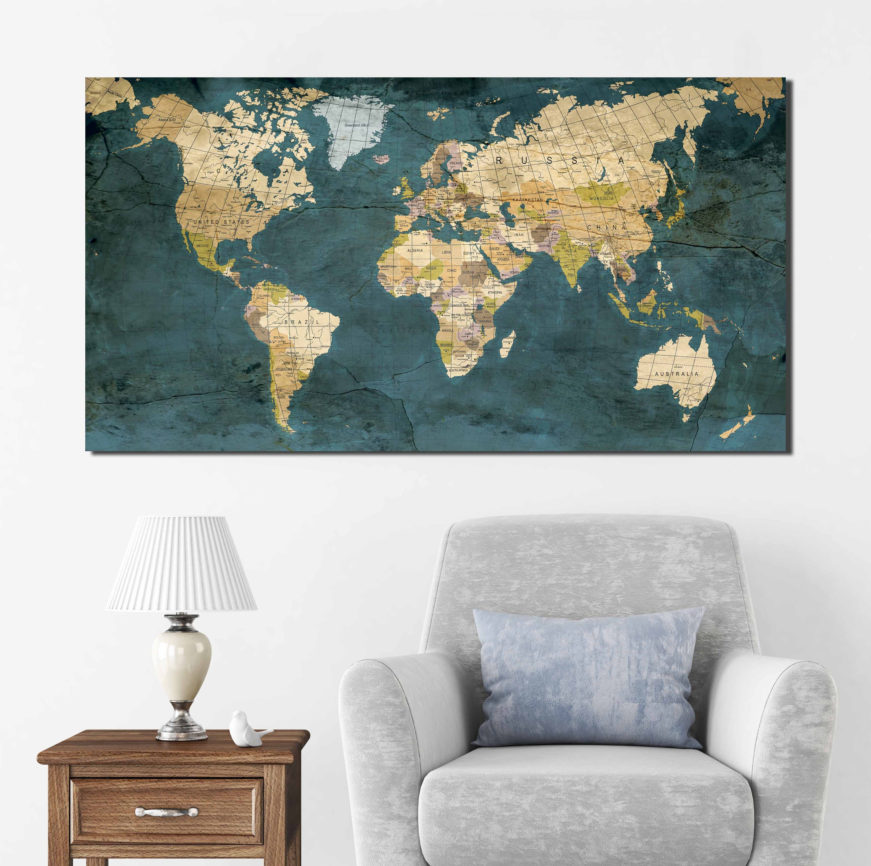 your modern for fabulous antique piece amazing map world colorful room living decor art interior wall tips