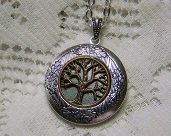 Silver Locket - Family Tree - Tree of Life - Engraved Tree Locket - Sterling Silver Plated Locket - Your choice of silver plated Chain