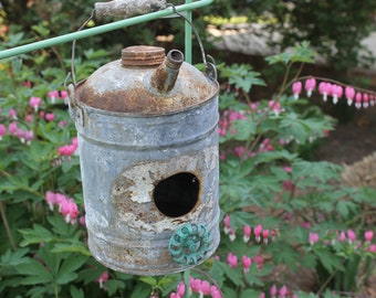 Rustic Farmhouse, Birdhouse, Mother's Day Gift, Salvaged Tin, Bird House, Home Decor, Yard Art, Landscaping, Father's Day Gift, Primitive
