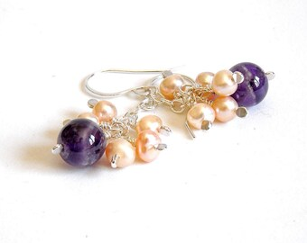 Amethyst Drop Earrings with Peach Pearl Clusters on Sterling Silver Chain, Handmade Silver Jewellery, Freshwater Pearl Earrings