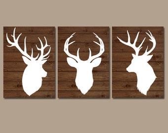 DEER Wall Art, Deer Nursery Decor, Deer CANVAS Or Prints, Rustic Nursery  Decor, DEER Theme, Deer Head Decor, Deer Wood Wall Decor, Set Of 3