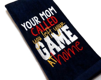 Golf towel, mens golfing, Your mom called, you left your game, at home, large design, funny golfer gift, golfer birthday, custom golf, sport
