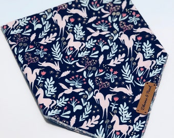 Magic Garden - Snap Bandana - Limited Edition - Unicorns Rabbits Birds and Tulips print