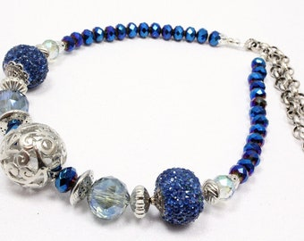 Blue and Silver Necklace, Artisan Beads, Sapphire Blue, Azure Blue, Midnight Blue, Dressy Necklace, Wedding, Prom, Glam