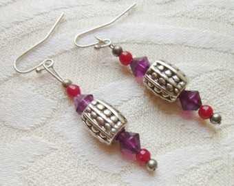 Purple Red Silver Dangle Earrings, Unusual Pierced Earrings 1 inch