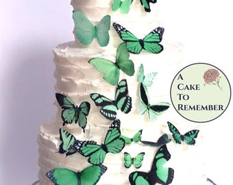 25 assorted green edible butterflies in greenery wedding colors. Rustic wedding cake ideas, woodland wedding cake decorations