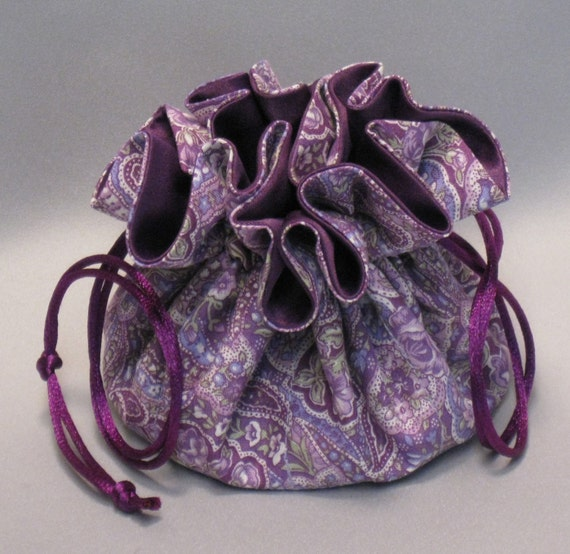 Jewelry Tote--Drawstring Organizer Travel Pouch--Purple Paisey---Regular Size