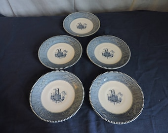 Currier and Ives Blue & White Saucer Set of 5