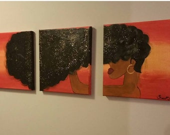 3 Piece Afro Hair Painting