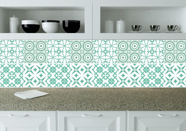 keuken tegels stickers : Turquoise Blauwe Tegel Stickers Ingesteld Van 24 Tegel