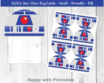 R2D2 Star Wars Bag label - R2D2 treat bag label - Star Wars bag label - Star Wars party - Star Wars The Force Awakens goodie bag label