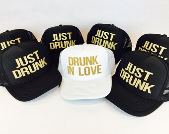Drunk in Love Just Drunk Hats | Bachelorette Party Hats | Bachelorette Hats | Bachelorette Trucker Hats | Bridal Hats | Glitter Trucker Hats