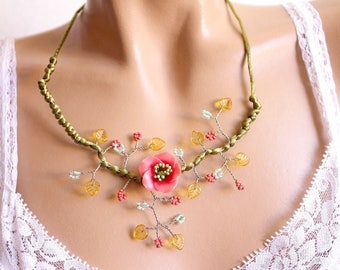 Pink Flower necklace Green Branch beads