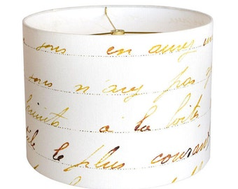 MEDIUM Linen French Script Lamp Shade - Bronze Gold and White Lampshade - 10 11 12 Inch Custom Made to Order Script Lamp Shade