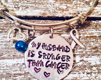 My husband is stronger than cancer~Cancer awareness~ Support bracelet