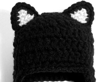 Little Black Cat Baby Hat, Infant Kitten Earflap Hat with Ears